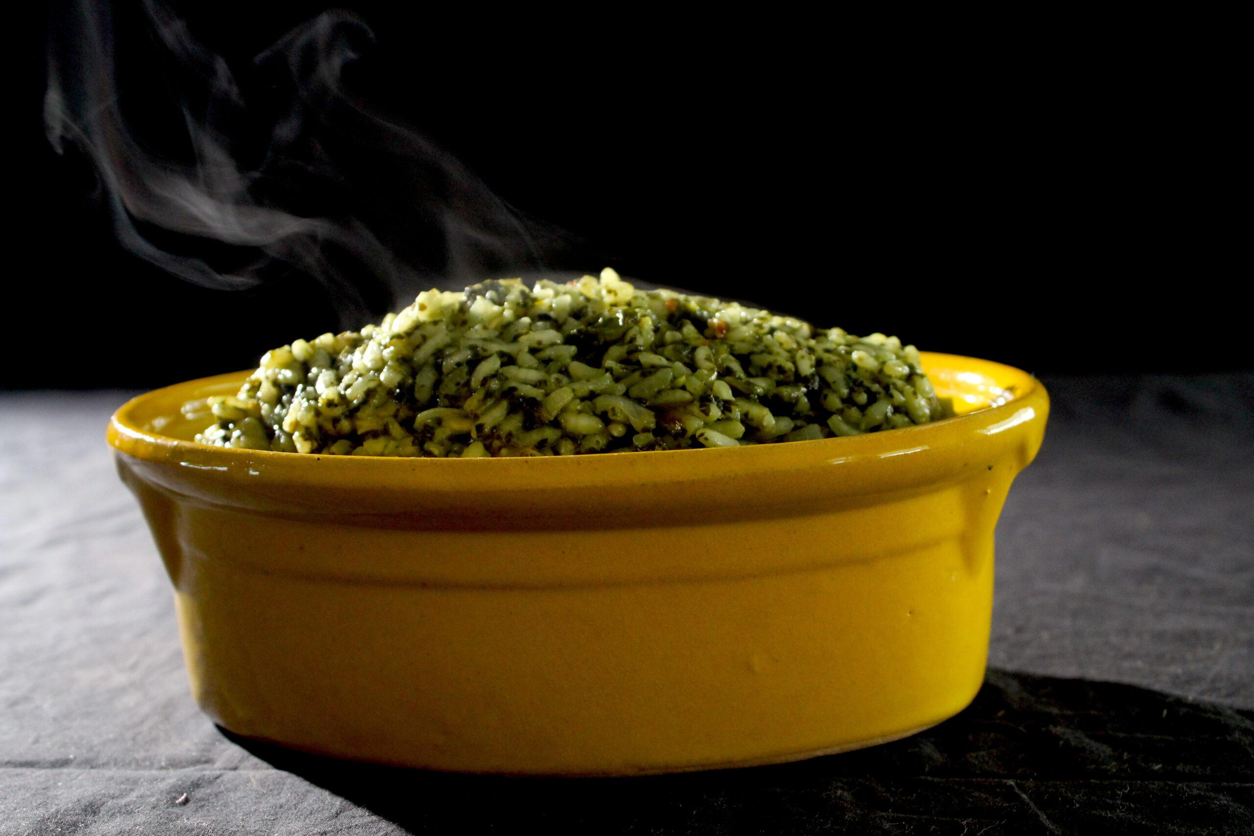 Spinazie-koriander risotto