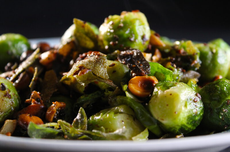 Brussels sprouts and hazel nuts