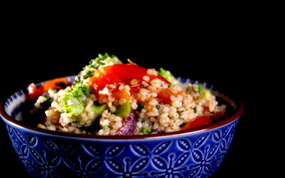 Vegetables, barley and za'atar in the mix