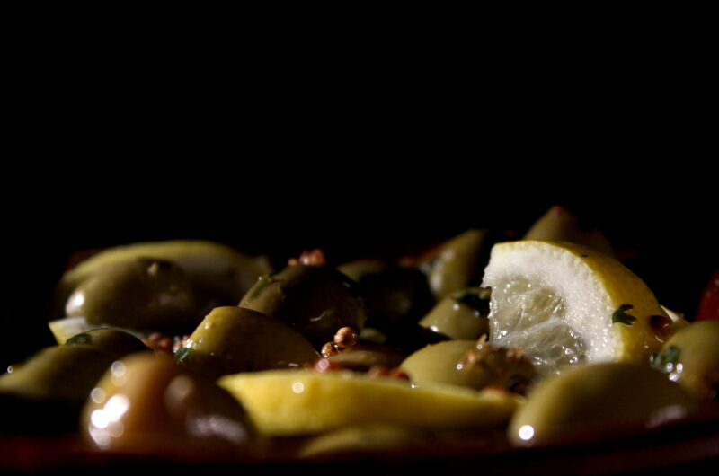 Deliciously marinated green olives