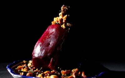 Rode biet met tijm/salie en hazelnoten krokant