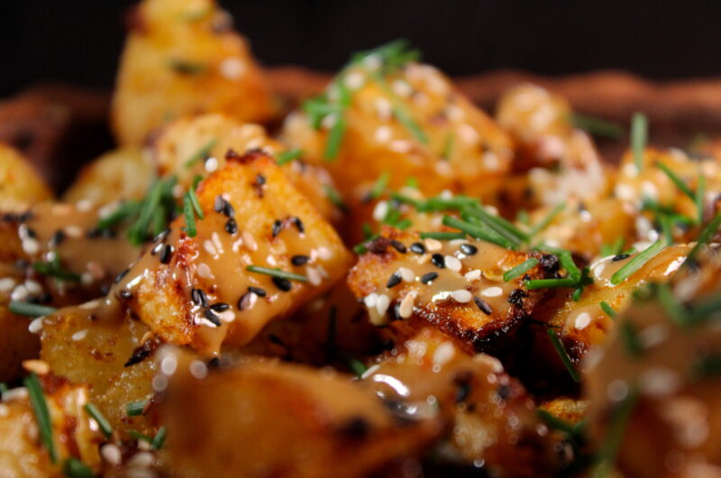 Harissa potatoes with a tahini/soy sauce