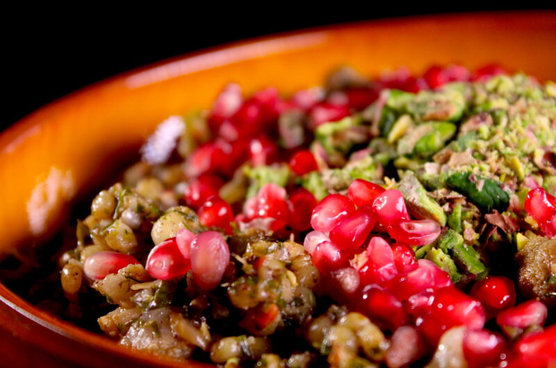 Pearl couscous with cauliflower, pistachio and pomegranate