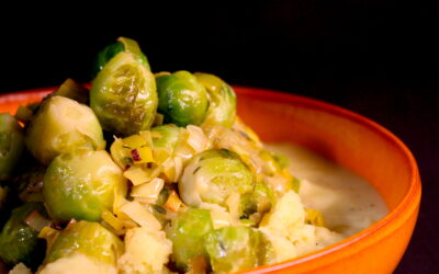 Brussels sprouts in white wine and a velvet onion sauce