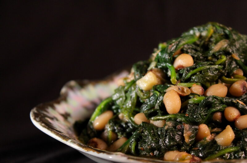 Spinach and black eyed peas with Szechuan pepper