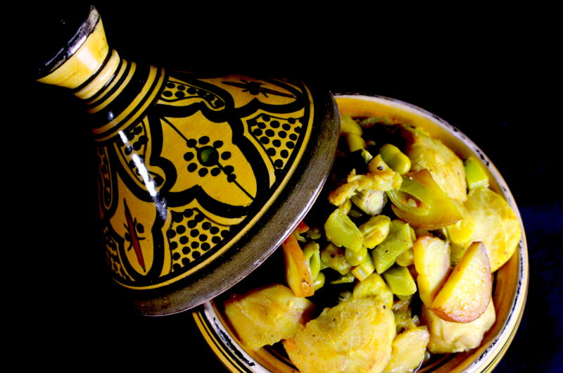 Tagine with broad beans, artichoke and broccoli