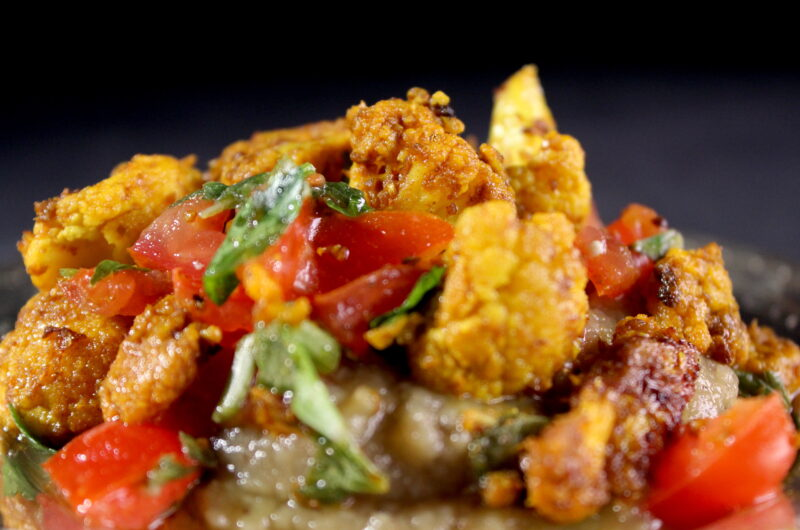 Grilled cauliflower and eggplant with tomato salsa