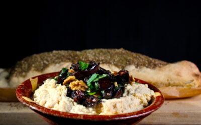 Aubergine walnoot topping voor op hummus