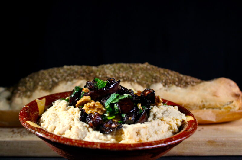 Eggplant walnut topping for hummus