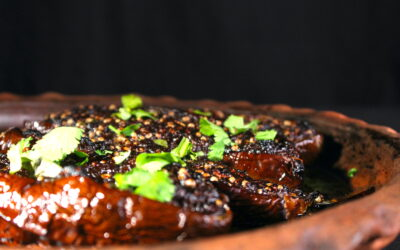 Delicious roasted eggplant in tamarind sauce