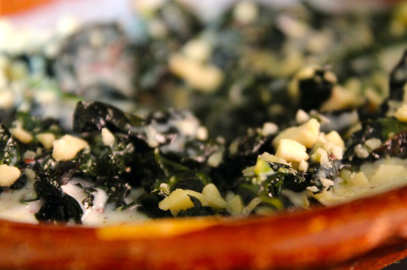 Cavolo nero with sumac yogurt and almonds