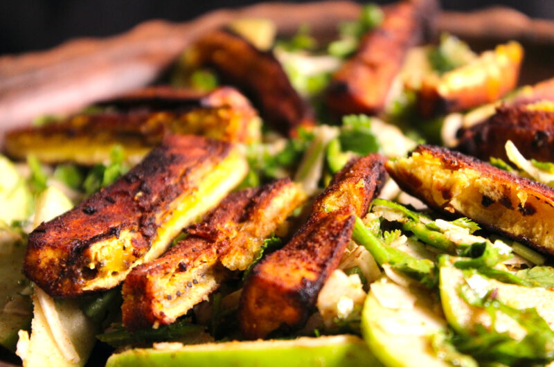 Spicy plantain, apple and coconut salad