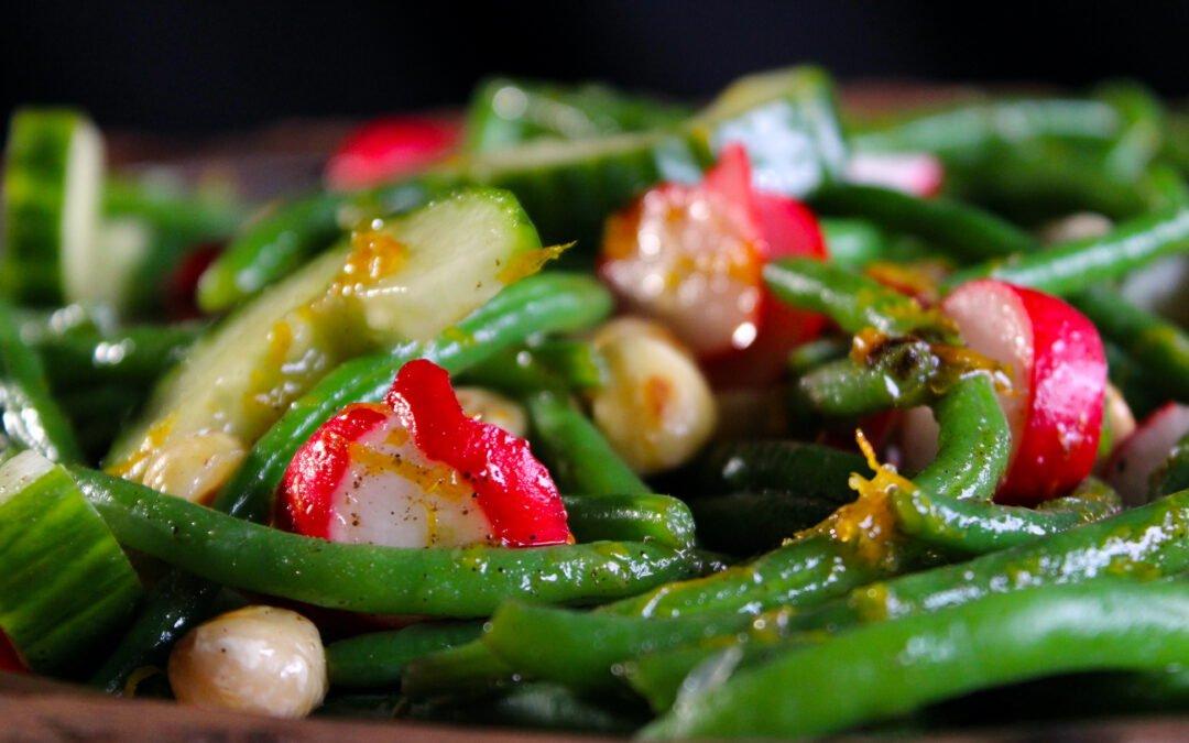 Haricots verts salade met hazelnoten