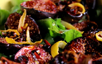 Grilled fig salad with Japanese influences