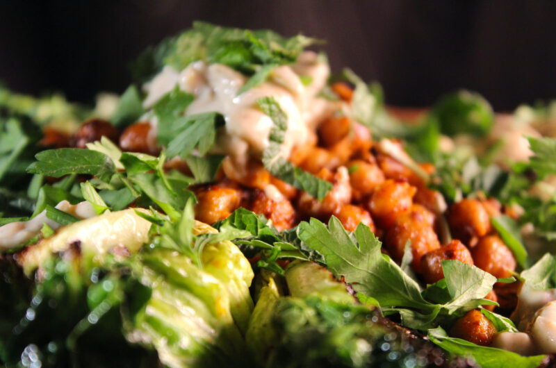 Grilled romaine lettuce with crispy chickpeas