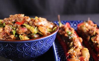 Gevulde puntpaprika met kruidige quinoa